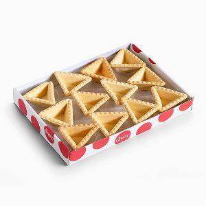 Tartaleta triángulo de 40x40x40mm lista para ser rellenada tanto dulce como salada
