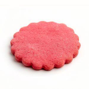 Base para pasteles y postres redonda con forma de flor de color rojo ideal para presentar elaboraciones dulces o saladas