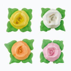 Rosas de azúcar pequeñas decoración color amarillo blanco naranja rosa